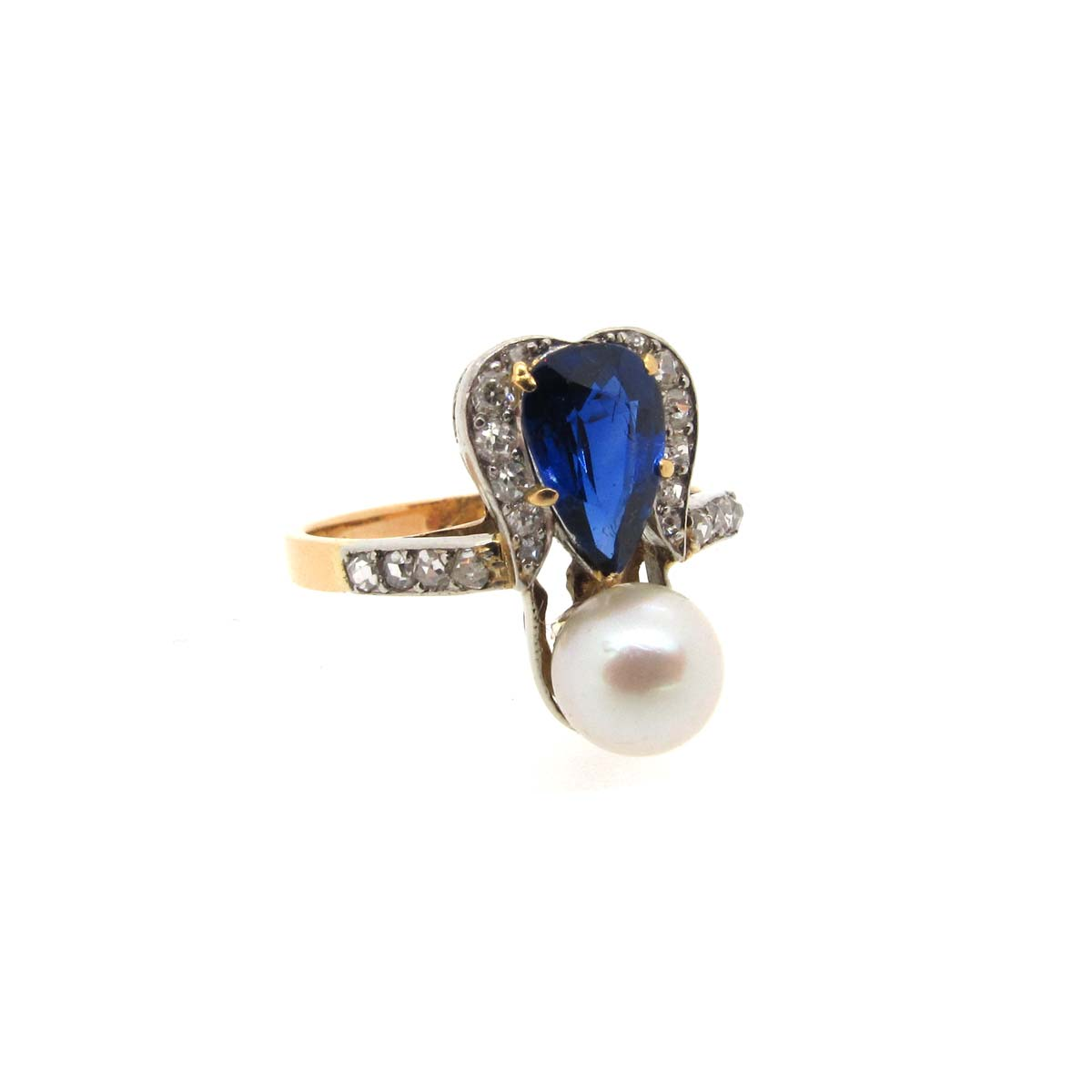 Sapphire, pearl & diamond ring