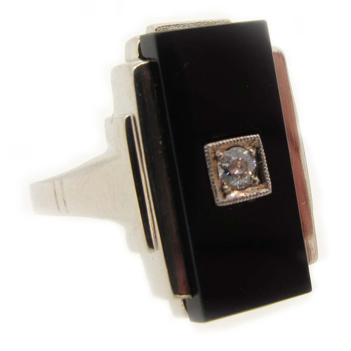 Art Deco Onyx & diamond ring