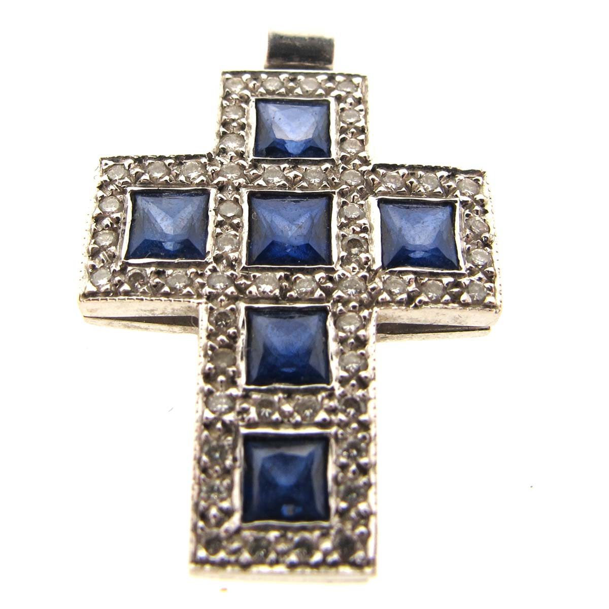 white gold, sapphire & diamond cross