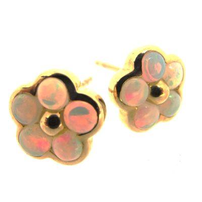 Gold & Opal Flower Cluster Earrings