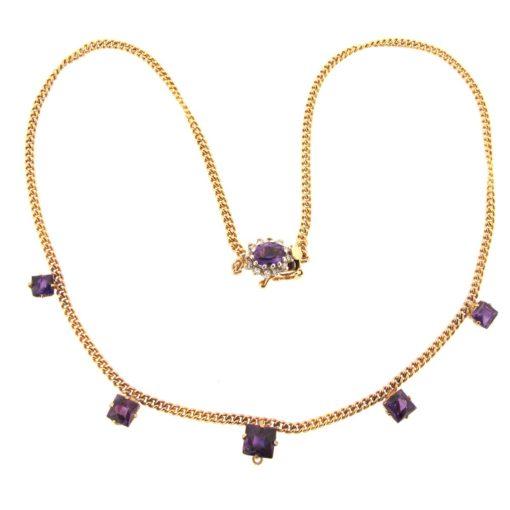 gold, amethyst & diamond necklace