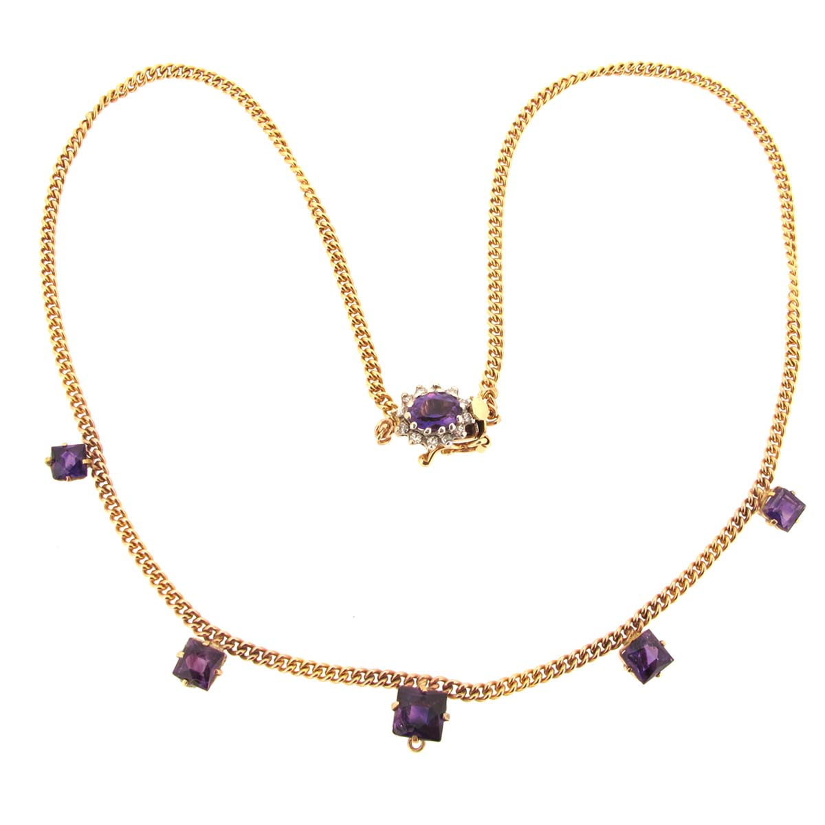 gold, amethyst & diamond necklace