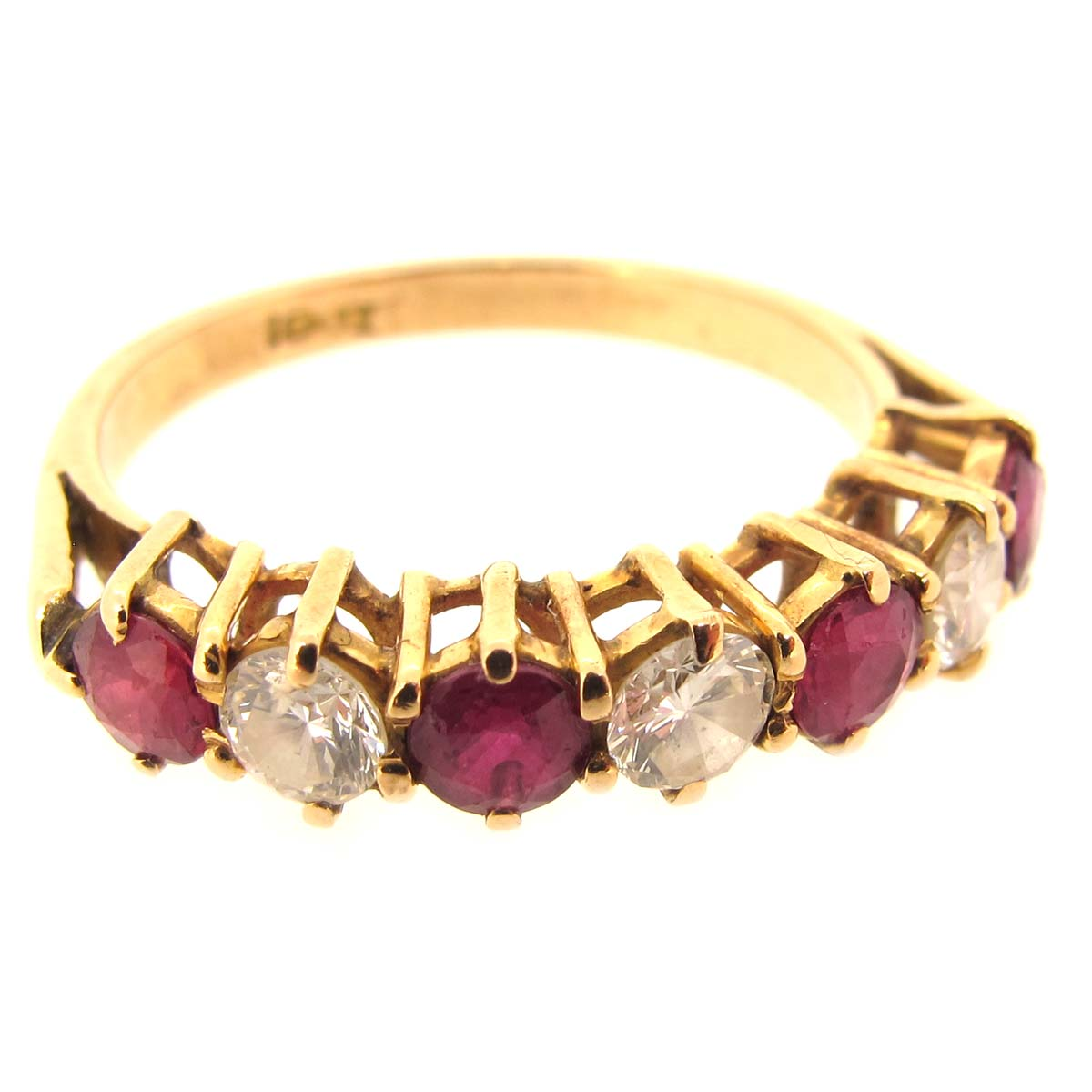 gold, ruby & diamond half eternity ring