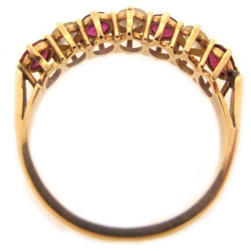 gold, ruby & diamond half eternity ring