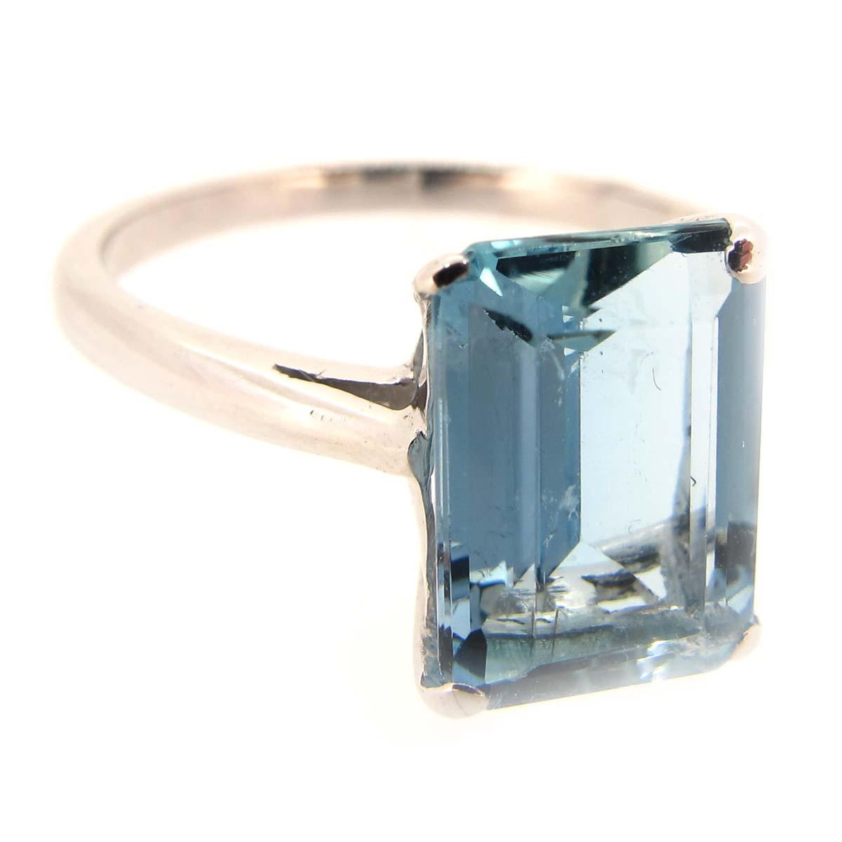 white gold & aquamarine dress ring