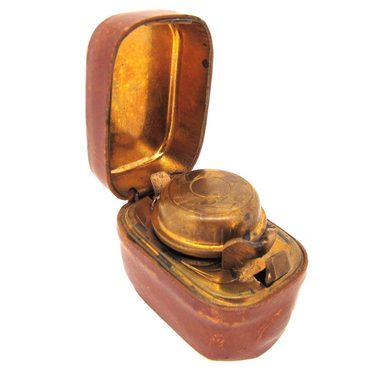 Antique Victorian Leather & Brass Inkwell