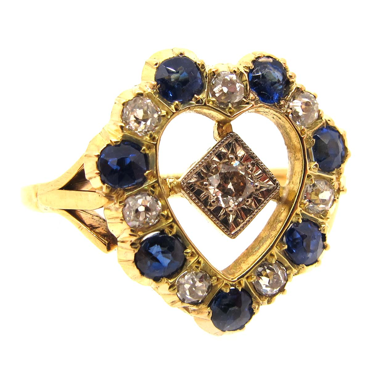 Gold, Sapphire & Diamond Heart Shaped Ring