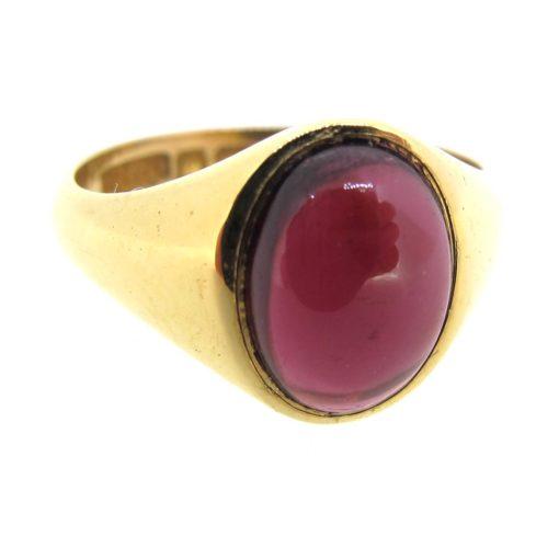 Antique Gold & Cabochon Garnet Ring
