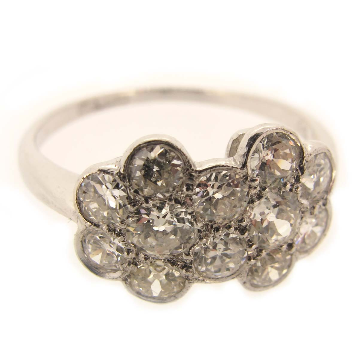 Diamond Double Flower Cluster Ring