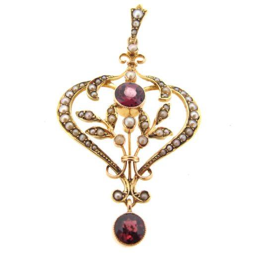 antique gold, garnet & seed pearl pendant