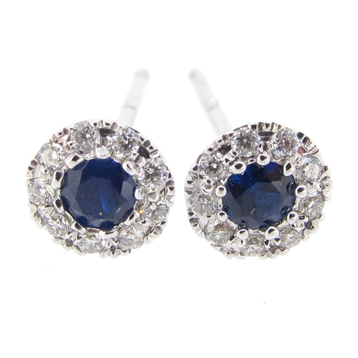 diamond & sapphire target style earrings