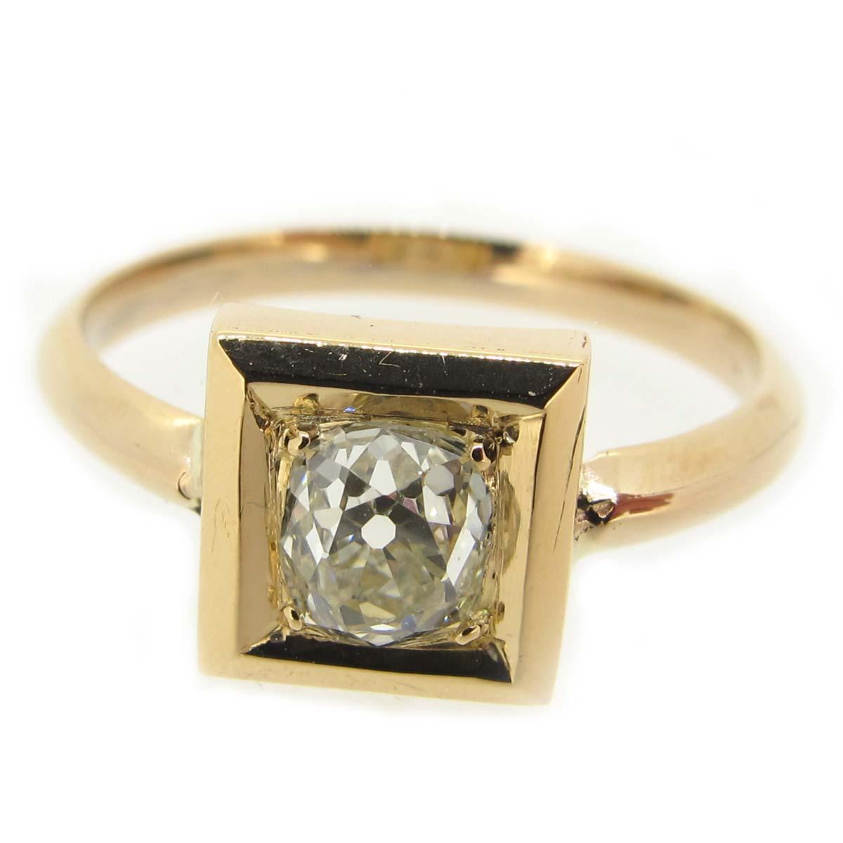 Square Set Diamond & Gold Ring