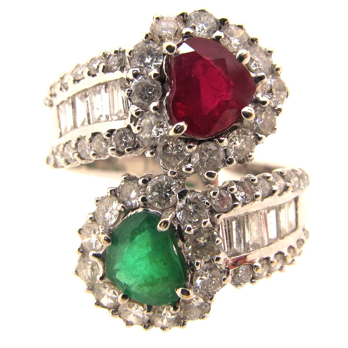 Ruby, Emerald & Diamond Double Heart Ring