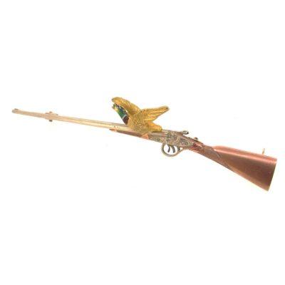 3 Colour Gold & Enamel Hunting Brooch
