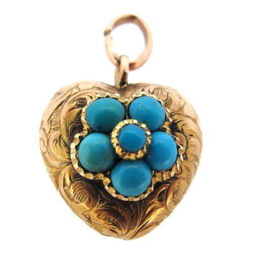Antique Turquoise Heart Pendant