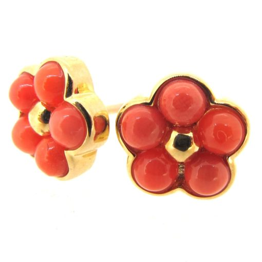 Gold & Coral Flower Cluster Earrings