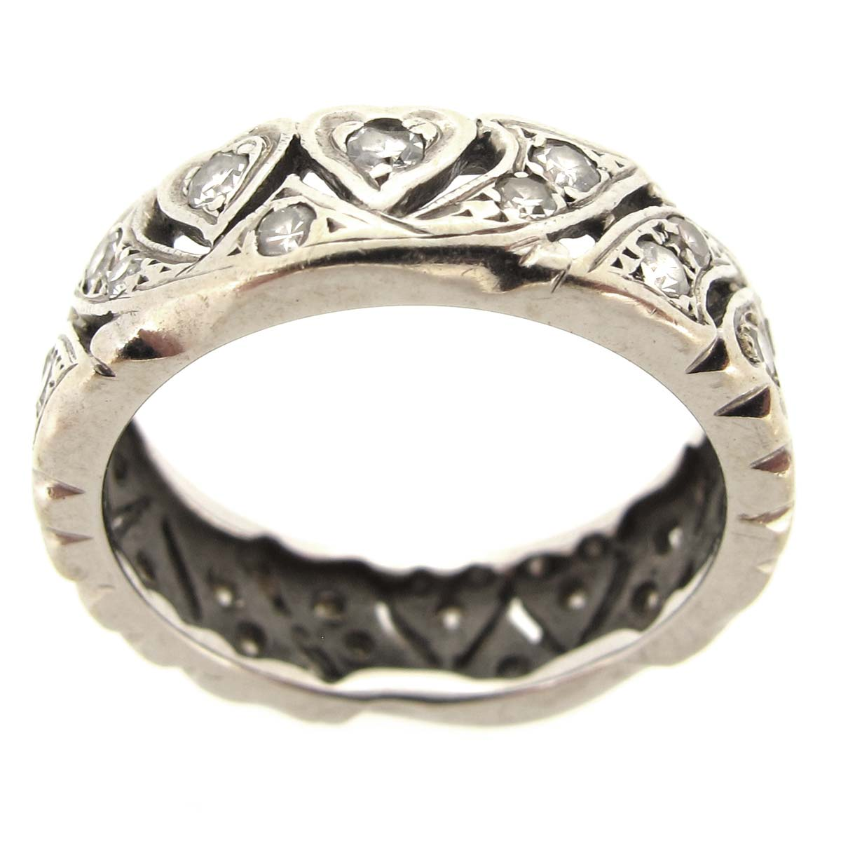 White Gold & Diamond Carved Eternity Band