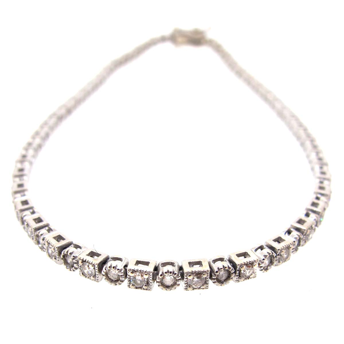 Milgrain Edge Diamond Tennis Bracelet