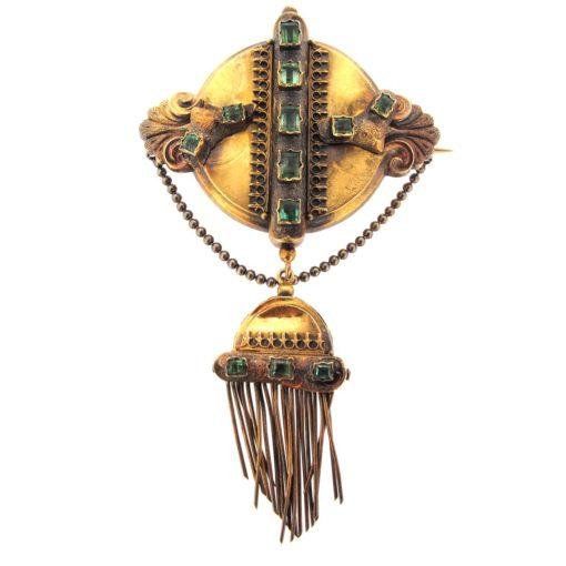 Antique Gold & Emerald Tassel Brooch