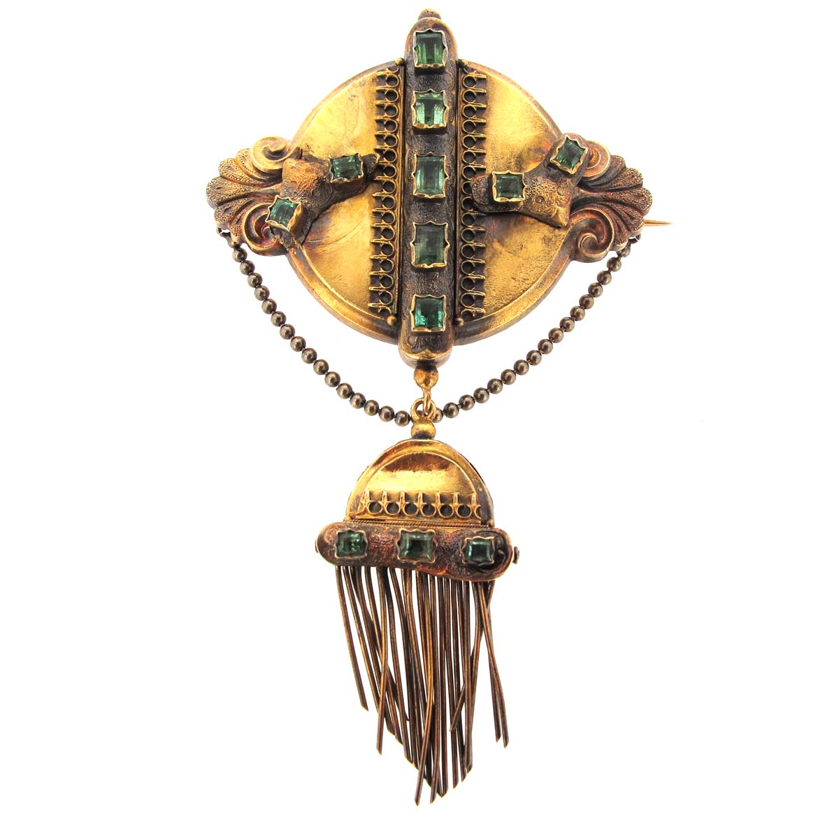 Antique Gold & Emerald Tassel Brooch