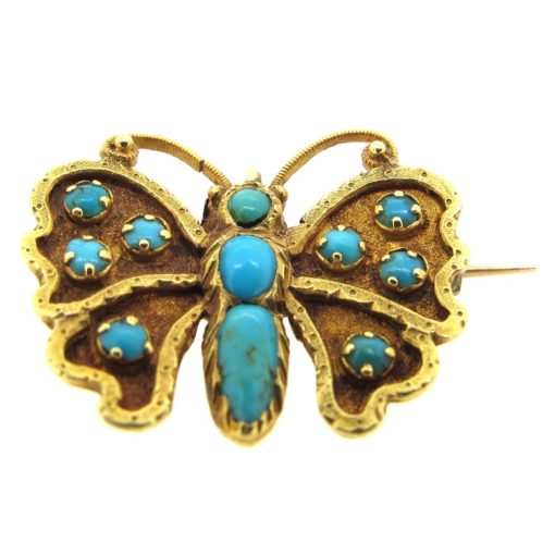Gold & Turquoise Butterfly Brooch