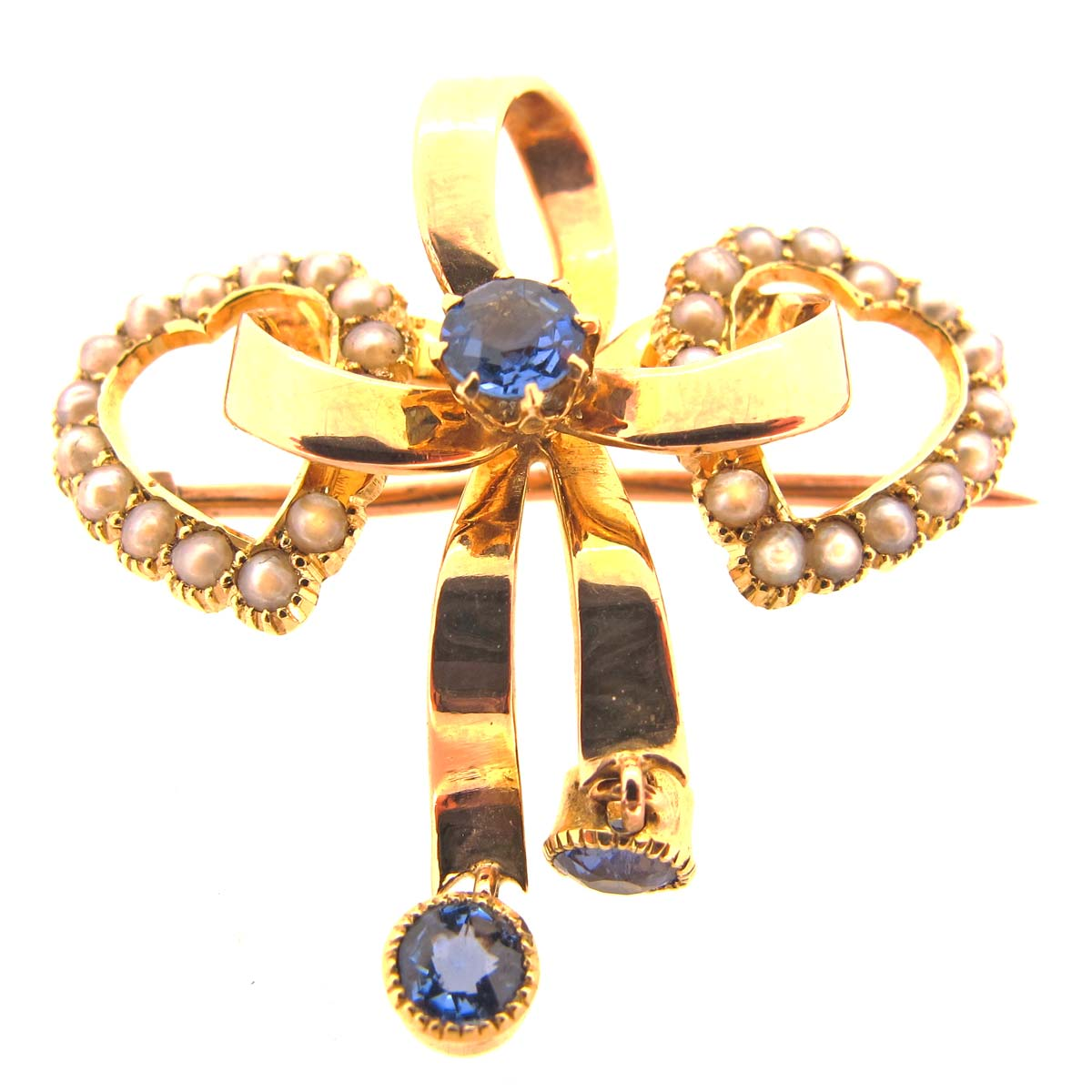 Antique Gold, Sapphire & Pearl Bow & Heart Brooch