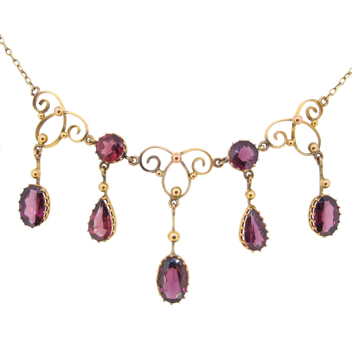 Edwardian Gold & Garnet Drop Necklace