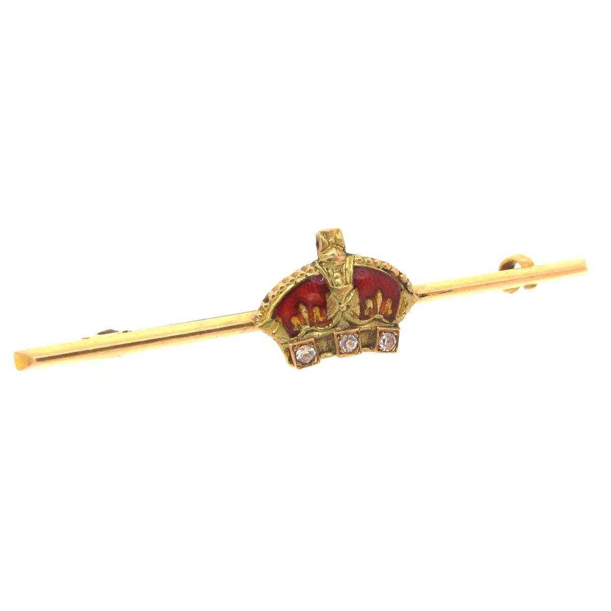 Antique Gold, Enamel & Diamond Crown Brooch