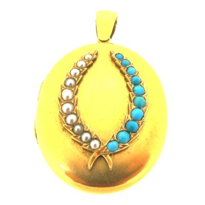 Antique Gold, Pearl & Turquoise Locket