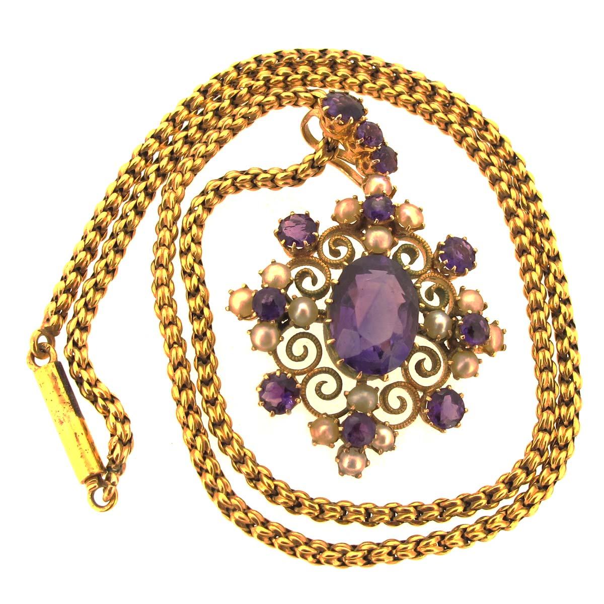 Victorian Amethyst & Pearl Necklace