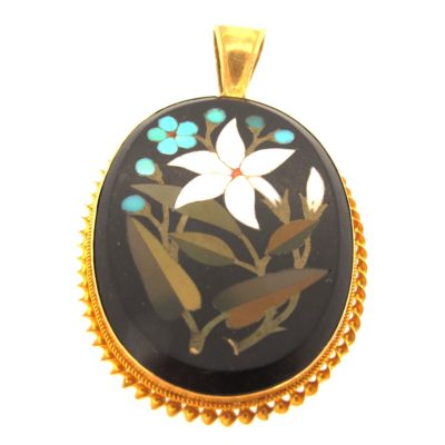 15ct Gold Pietra Dura Mosaic Brooch