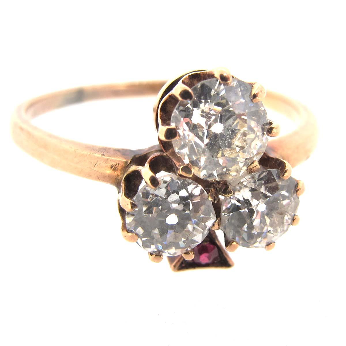 Antique Diamond Trefoil Ring