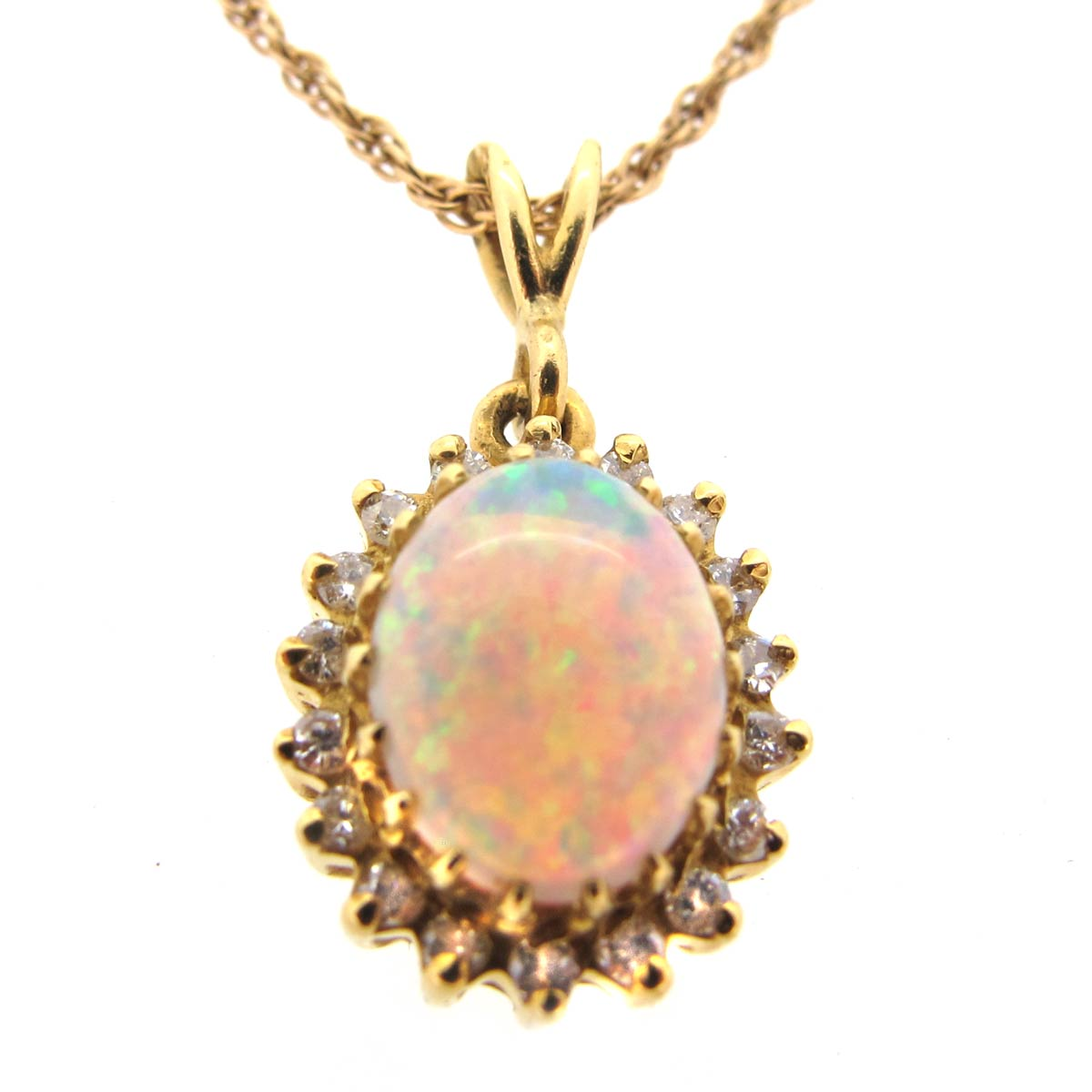 Opal, Diamond & Gold Necklace