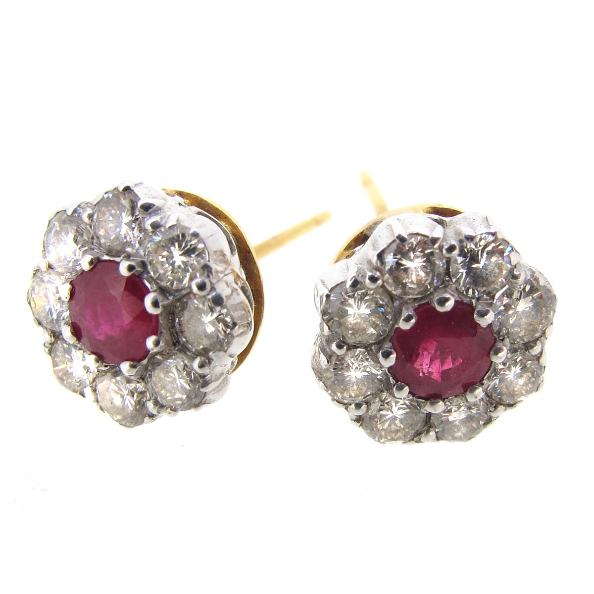 Ruby & Diamond Cluster Earrings