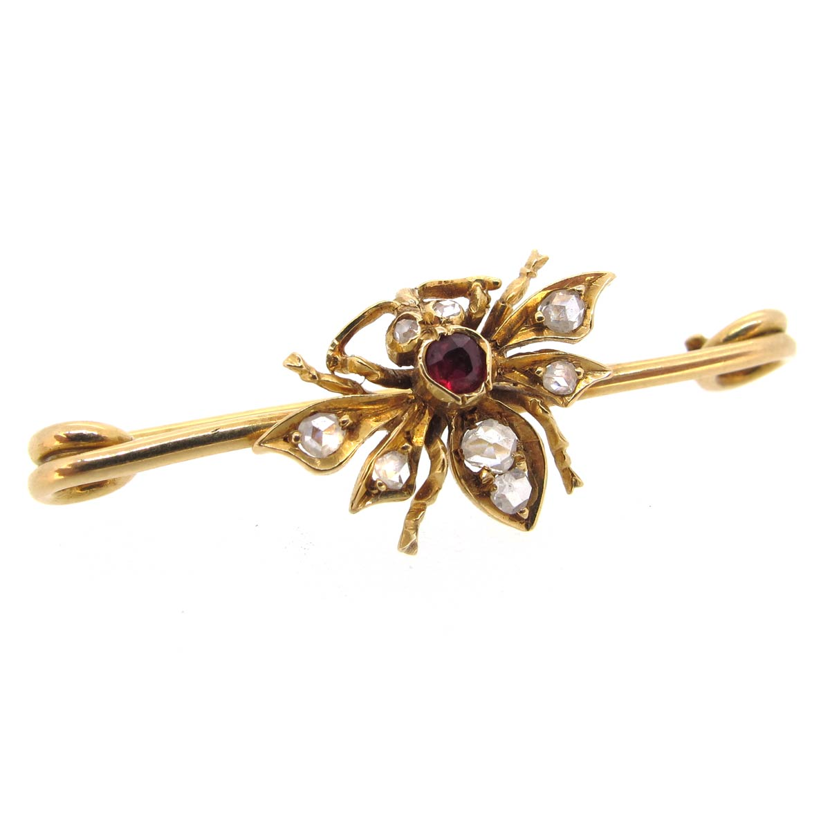 Gold, Ruby & Diamond Bug Brooch