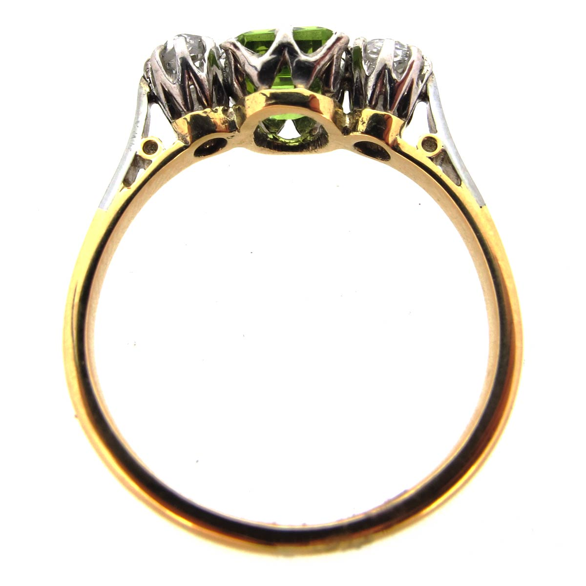 Peridot & Diamond 3 Stone Ring