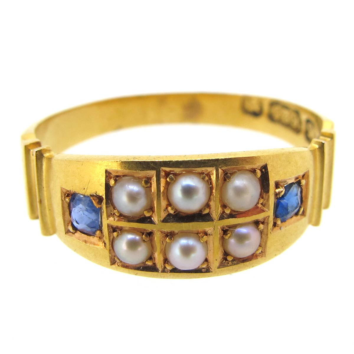 Antique Gold, Pearl & Sapphire Ring