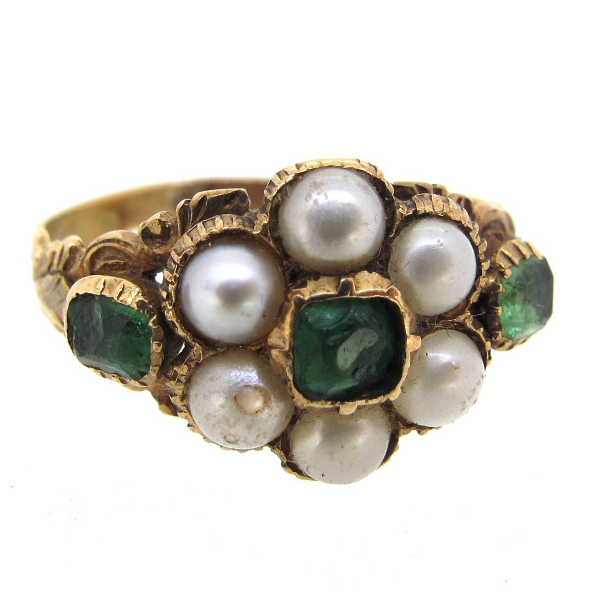 Antique Emerald & Pearl Daisy Cluster Ring