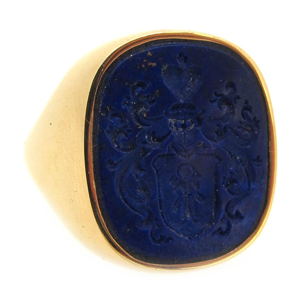 Lapis Intaglio Signet Ring