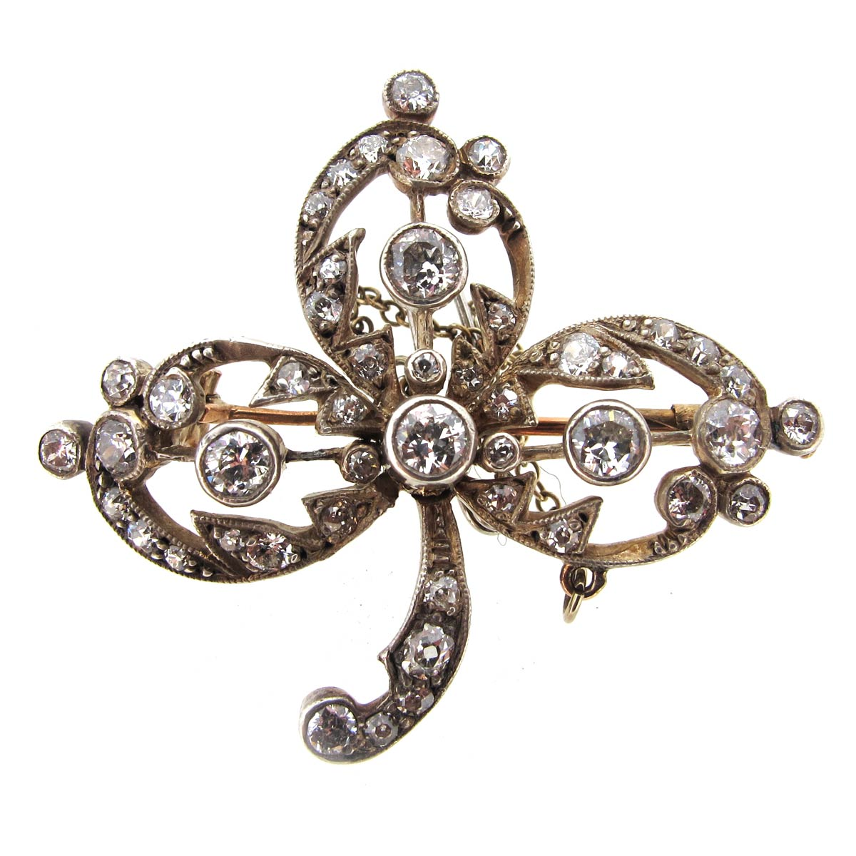 Antique Diamond Trefoil Brooch