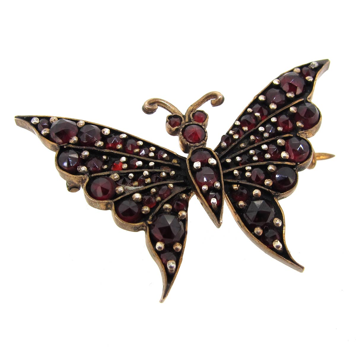 Antique Bohemian Garnet Butterfly Brooch