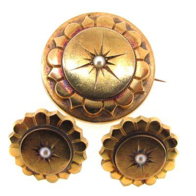 Victorian Gold & Pearl Brooch & Earring Set