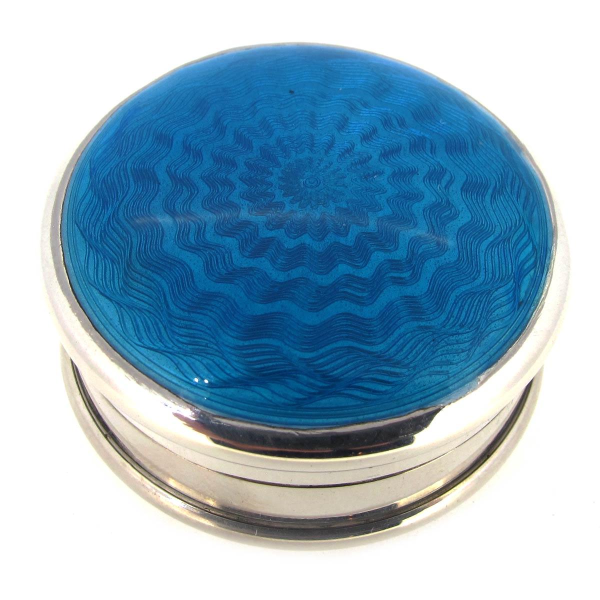 Silver & Blue Enamel Box