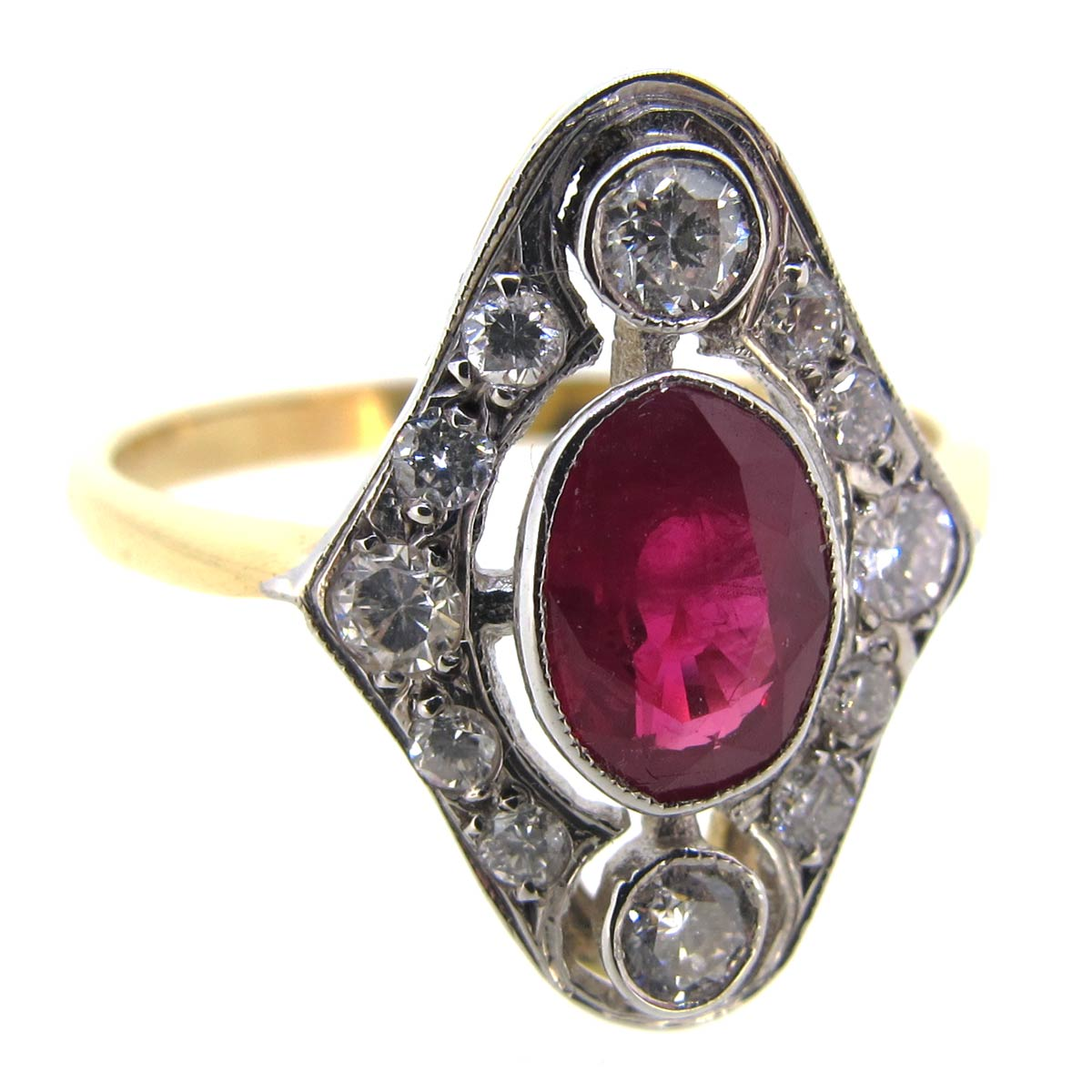 Art Deco Ruby & Diamond Marquise Shaped Ring