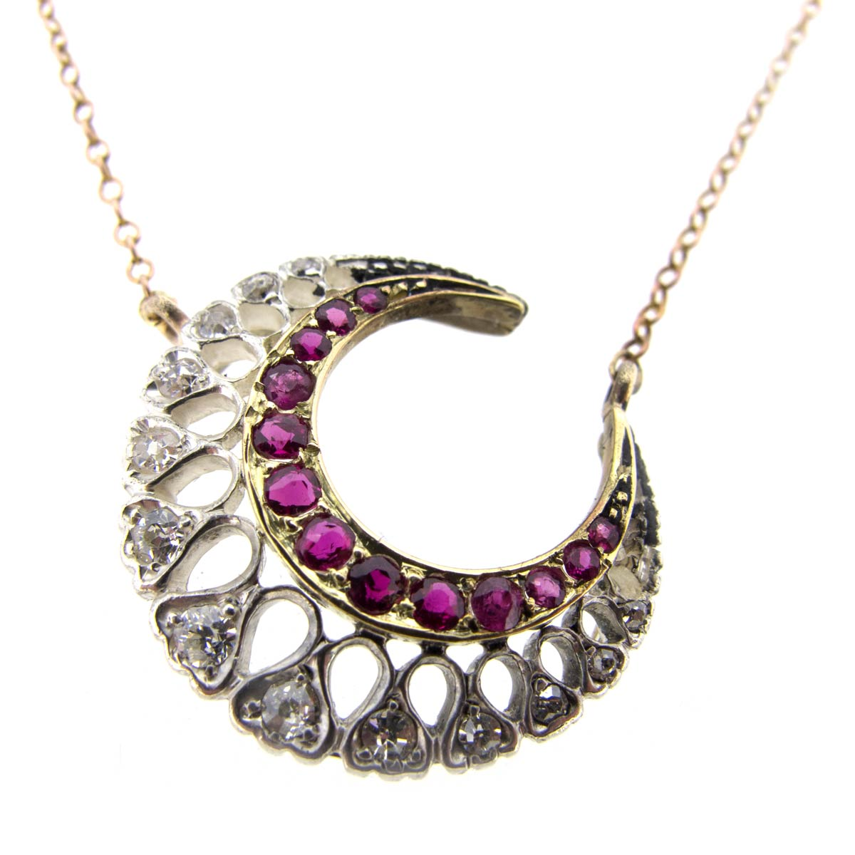 Ruby & Diamond Crescent Necklace