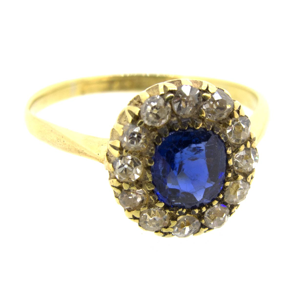 Antique Sapphire & Diamond Halo Ring