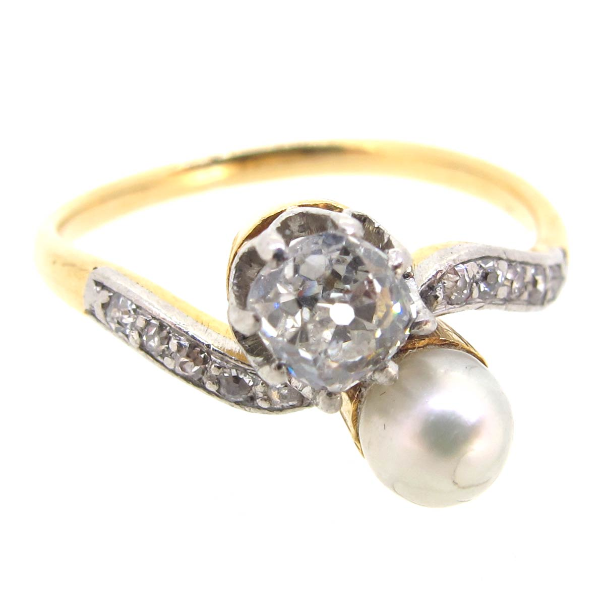 Antique Pearl & Diamond Crossover Ring