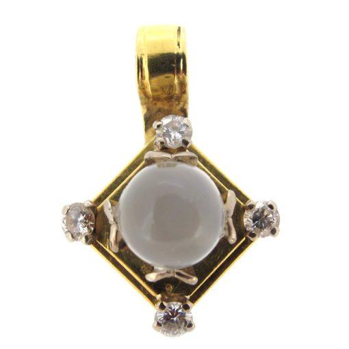 Gold, Moonstone & Diamond Pendant