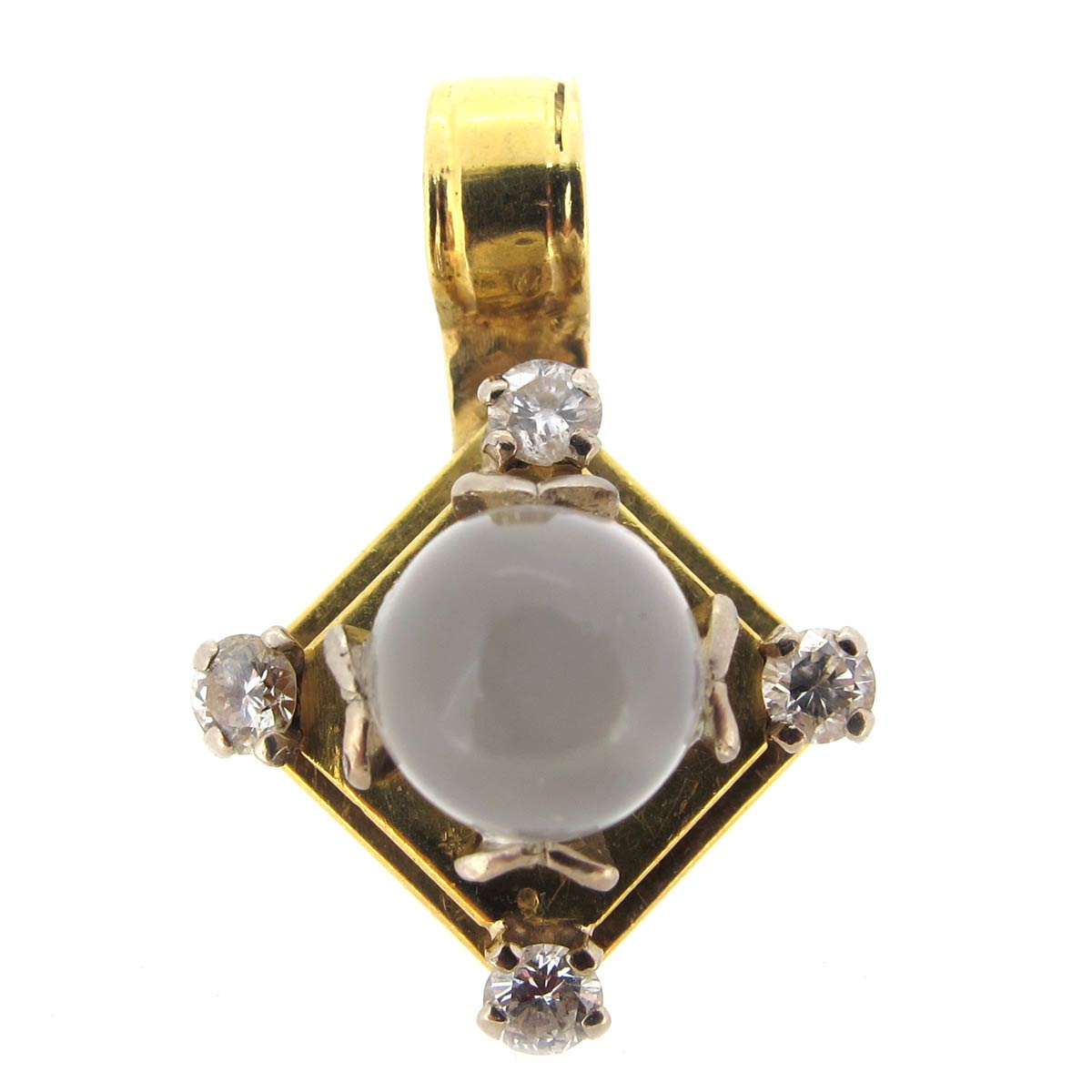 Gold, Moonstone & Diamond Pendant