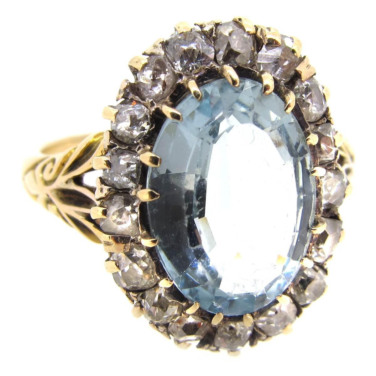 Antique Aquamarine & Diamond Ring